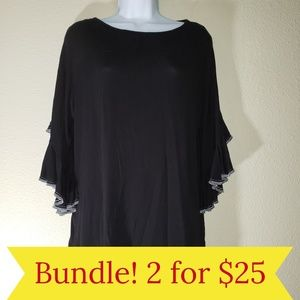 KIM & CAMI Black Ruffle Bell Sleeve Blouse Top M